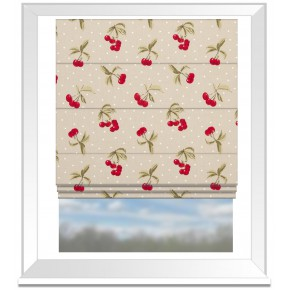 Clarke and Clarke Blighty Cherries Taupe Roman Blind