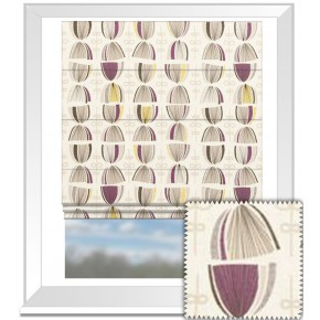 Clarke and Clarke Festival Cosmos Elderberry Roman Blind