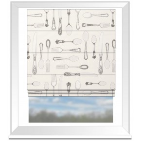 Clarke and Clarke Blighty Cutlery Natural Roman Blind