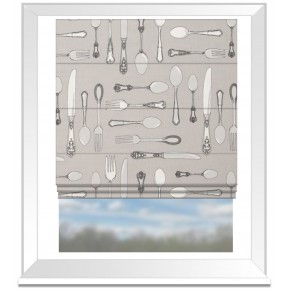 Clarke and Clarke Blighty Cutlery Taupe Roman Blind