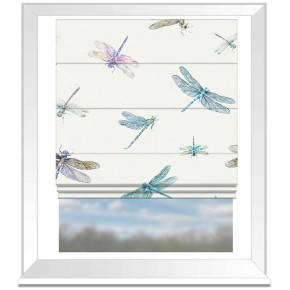 A Village Life  Dragon Flies  Cream  Roman Blind
