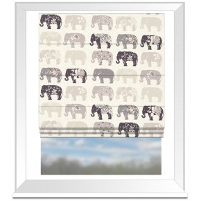 Clarke and Clarke Blighty Elephants Natural Roman Blind