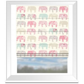 Clarke and Clarke Blighty Elephants Pastel Roman Blind