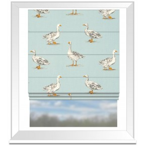 Clarke and Clarke Blighty Geese Duckegg Roman Blind