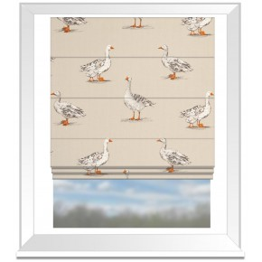 Clarke and Clarke Blighty Geese Natural Roman Blind