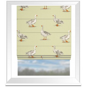 Clarke and Clarke Blighty Geese Sage Roman Blind