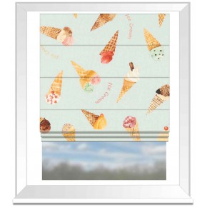 A Village Life  Ice Cream Parlour Blue  Roman Blind