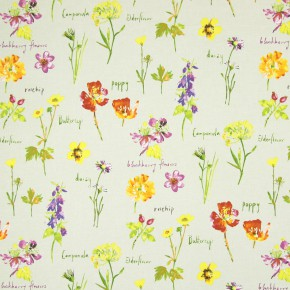 Country Fair Wild Flowers Linen Curtain Fabric
