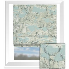Clarke and Clarke Garden Party Manor Toile Mineral Roman Blind