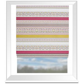 Clarke and Clarke Oslo Ommel Fuchsia Apple Roman Blind