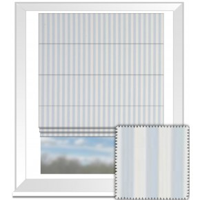 Clarke and Clarke Garden Party Party Stripe Sky Roman Blind