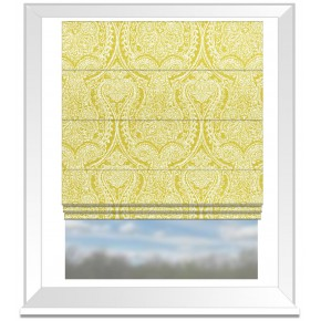 Clarke and Clarke Halcyon Pastiche Chartreuse Roman Blind
