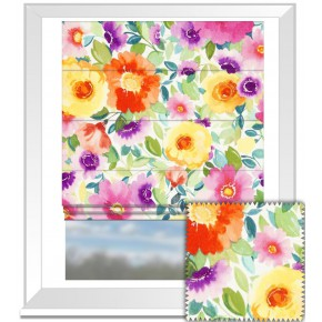 Clarke and Clarke Artbook Penelopes  Muse Linen Multi Roman Blind