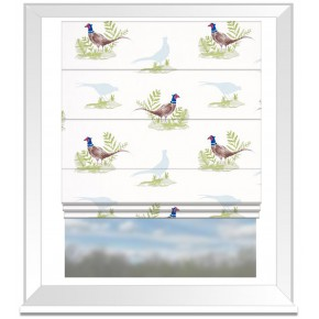 Clarke and Clarke Blighty Pheasants Natural Roman Blind