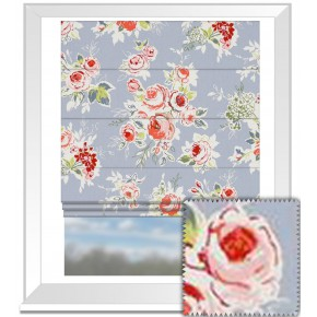 Clarke and Clarke Garden Party Rose Garden Chambray Roman Blind