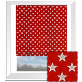 Clarke and Clarke Garden Party Shooting Stars Red Roman Blind