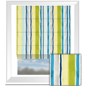 Clarke and Clarke Artbook Sunrise Stripe Linen Aqua Roman Blind