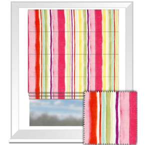 Clarke and Clarke Artbook Sunrise Stripe Linen Multi Roman Blind