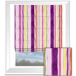 Clarke and Clarke Artbook Sunrise Stripe Linen Passion Roman Blind