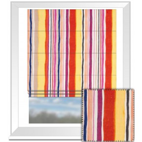 Clarke and Clarke Artbook Sunrise Stripe Linen Spice Roman Blind