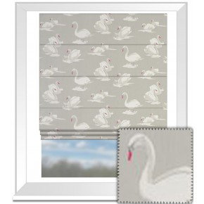 Clarke and Clarke Garden Party Swans Pebble Roman Blind
