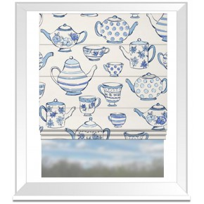 Clarke and Clarke Blighty Teatime Blue Roman Blind