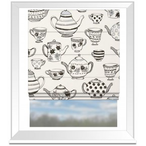 Clarke and Clarke Blighty Teatime Charcoal Roman Blind