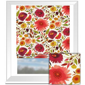 Clarke and Clarke Artbook Zinnias Linen Autumn Roman Blind