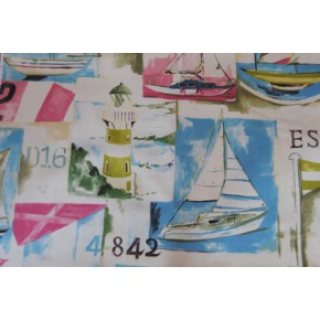 Westward Ho Yacht Club Vintage Curtain Fabric