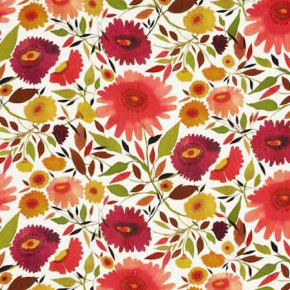 Clarke and Clarke Artbook Zinnias Linen Autumn Curtain Fabric